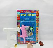 Свеча цифра на торт 1 Тедди розовая