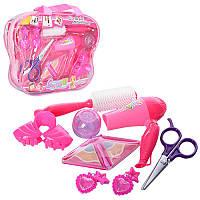 Набор парикмахера KZ-2515  фен,ножницы,расческа,зеркало,заколочка,2цвета,в сумке,24-20-5см