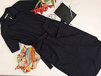Женское платье рубашка с поясом и карманами
