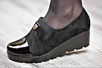 Туфли женские весна на платформе черные искусственная замша лак тракторная подошва (Код: 1058)