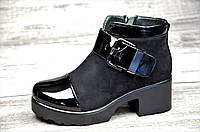 Ботинки женские весна ботильоны черные на платформе с широким каблуком искусственная замша лак (Код: 1063)
