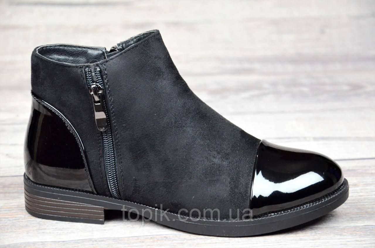 20232c0ac56068 Женские ботинки весна полусапожки черные ботильоны на низком ходу  искусственная замша кожа лак (Код: 1065)