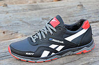 Мужские кроссовки черные с синим натуральная кожа (Код: 1074)