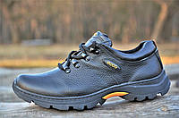 Мужские черные кроссовки полуботинки спортивные натуральная кожа прошиты (Код: 1077)