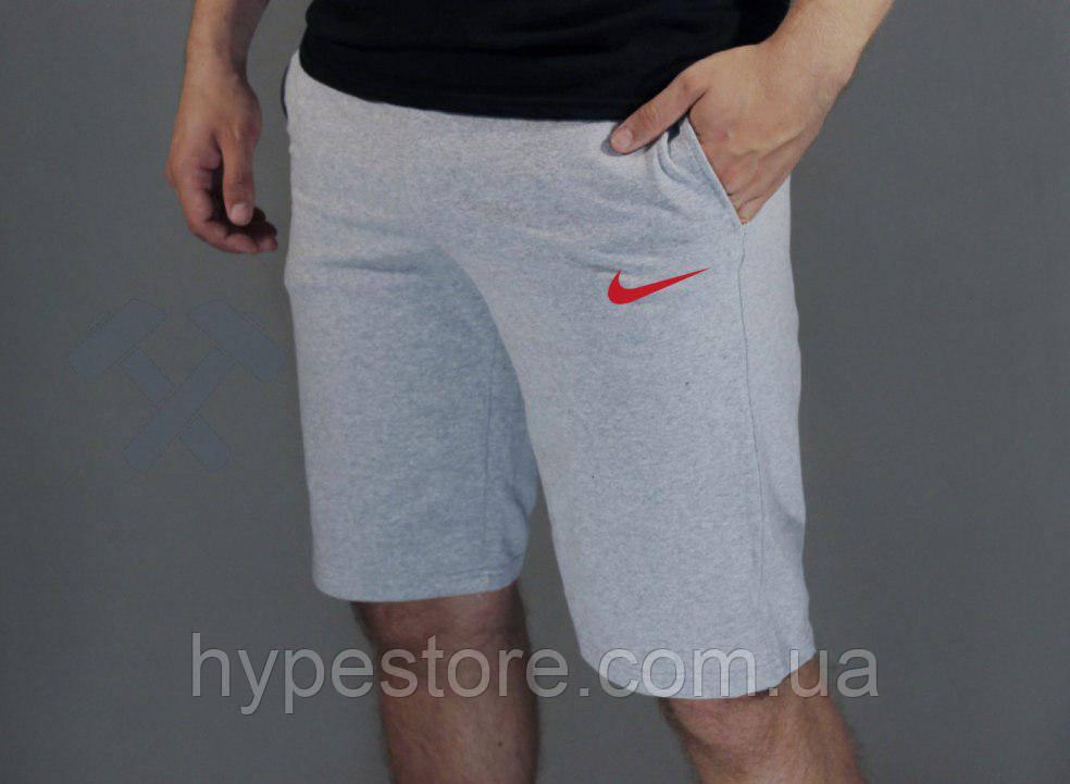 Мужские спортивные шорты Nike (серый с красным логотипом), Реплика