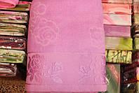 Махровая простыня (полуторное), цвет розовый