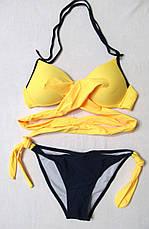 Купальник раздельный с запАхом с Пушап. Желтый. Три цвета, фото 3