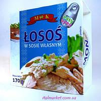 Лосось консервированый в соку Losos w sosie wlasnym 170г, Польша