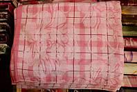 Махровая простыня - махра/лён (полуторное), цвет красный