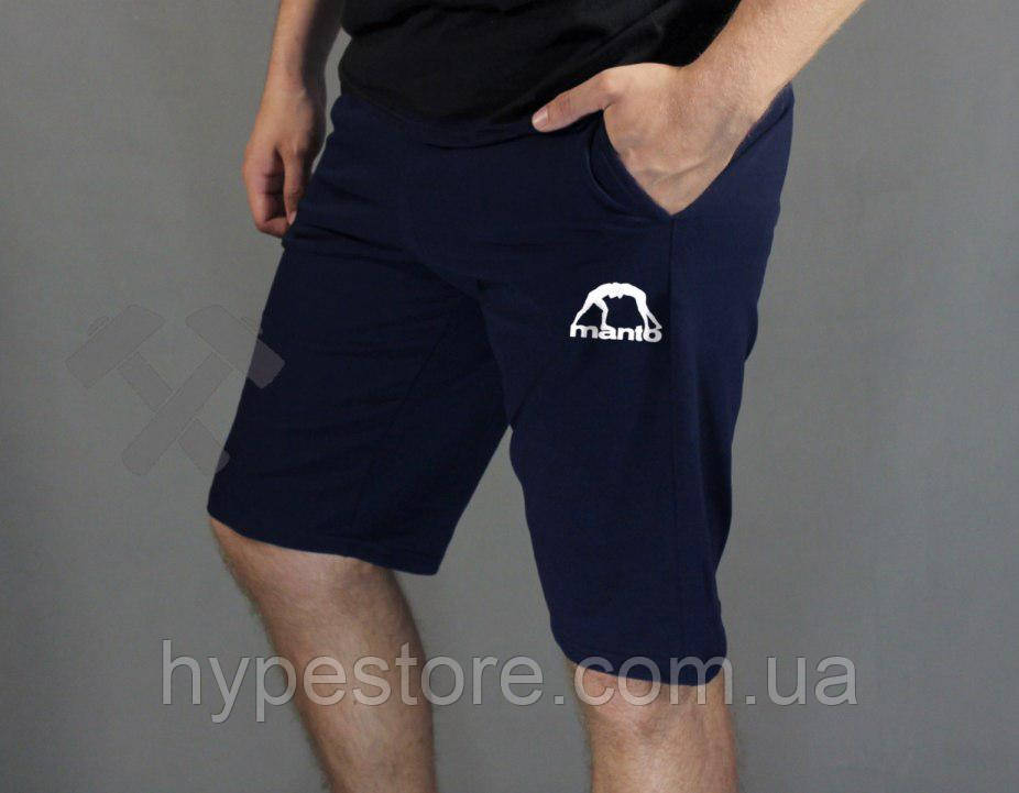 Мужские спортивные шорты Manto (синий с белым лого), Реплика