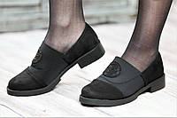 Туфли женские весенние мокасины на резинке черные искусственная замша текстиль (Код: 1057а)