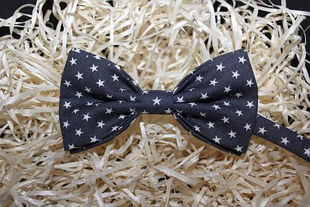 Чоловіча краватка-метелик усипана зорями, сіра