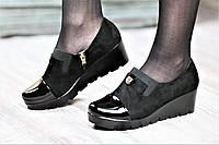 Туфли женские весна на платформе черные искусственная замша лак тракторная подошва (Код: 1058а)