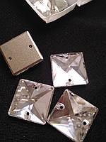 Стрази пришивні аналог Сваровскі, Квадрат 12 мм Crystal, скло