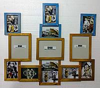 """Деревянная эко мультирамка, коллаж  #912 """" Тризуб"""" жёлто-голубой с золотом, венге, орех, белый, чёрный."""