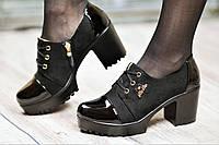 Туфли женские весна ботильоны черные на платформе с широким каблуком искусственная замша кожа лак (Код: 1062а)