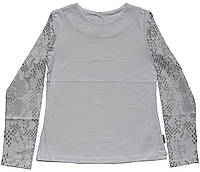 Блуза для девочек, школьная белая, длинный рукав с серебристым рисунком, рост 134, 140, 146 см,  Robinzone