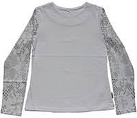 Блуза для девочек, школьная белая, длинный рукав с серебристым рисунком, рост 134, 140, 146 см, ТМ Robinzone