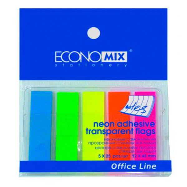 Стикер-закладка 125 шт (5 неоновых цветов по 25 прозрачных закладок )