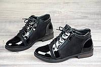 Женские весенние ботинки полусапожки черные ботильоны на низком ходу искусственная замша кожа лак (Код: 1066а)