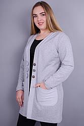 Стильний жіночий кардиган Кардо великих розмірів. Сірий