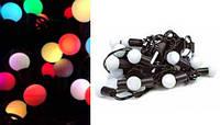 Новогодняя гирлянда Шарики черный провод 20 Led Multi Color