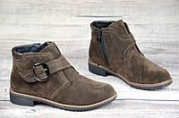 Женские ботинки весенние полусапожки коричневые ботильоны на низком ходу искусственная замша (Код: 1067а)