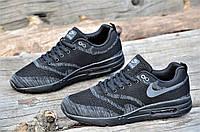 Мужские кроссовки весна лето черные с темно серым узором прочный текстиль мягкие (Код: 1068а)