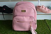 Розовый женские кожаный рюкзак, фото 1