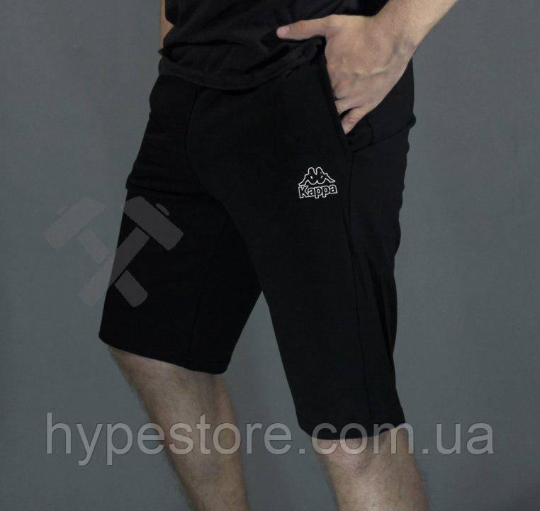 Мужские спортивные шорты Kappa (черный с белым логотипом), Реплика