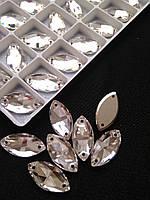 Стрази пришивні Копія Сваровскі, Маркіз 9х18 мм Crystal, скло
