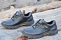Мужские черные кроссовки полуботинки спортивные натуральная кожа прошиты (Код: 1077а)