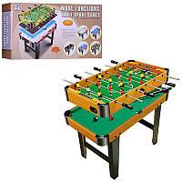 Игра настольная 6002B-2  дерев,на ножках,2в1(футбол на штангах, бильярд),в кор,82-44-14см