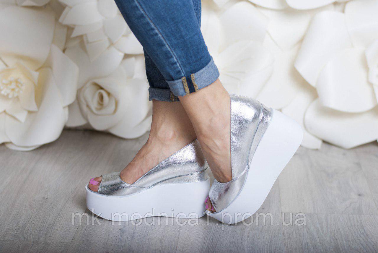Туфли Кожа  платформа открытый носок серебро