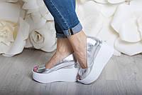 Туфли Кожа  платформа открытый носок серебро, фото 1