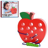 Деревянная игрушка Шнуровка MD 1160  яблоко, 16см, в кор-ке, 18-18-3см