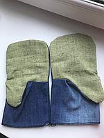 Рукавицы джинс с брезентовым наладонником