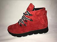 Ботинки на шнурках из натуральной замши/кожи в 4 цветах