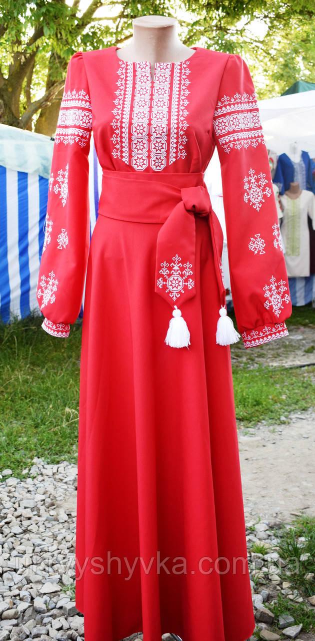 """Плаття вишите """"Чарівна мить"""" червоне"""
