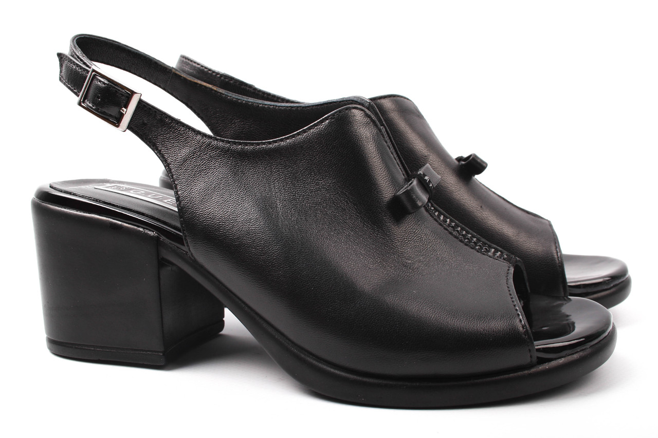 Босоножки женские Guero натуральная кожа, цвет черный (каблук, комфорт, Турция)