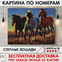 """Картина по номерам """"Степные лошади"""" 40х50 см"""