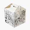 Упаковка для торта с принтом - Белая - 300х300х300 мм