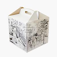Упаковка для торта с принтом - Белая - 300х300х300 мм, фото 1