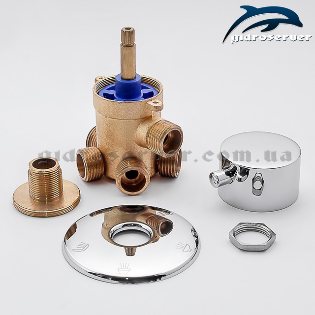 Кран-переключатель для душевых кабин, гидробоксов PG-05 с соединениями 1/2 дюйма под резьбу.