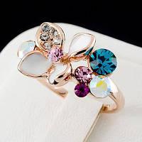 Красочное кольцо с кристаллами Swarovski, покрытое слоями золота 0446