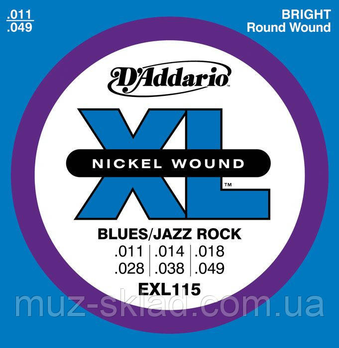 Струны для электрогитар D`ADDARIO EXL115 XL BLUES/JAZZ ROCK (11-49)