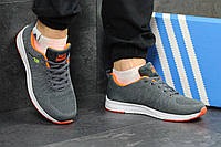 Мужские кроссовки Adidas Neo,серые с оранжевым