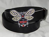 Ремень женский кожаный GUCCI Пчела, серебристая ширина 30 мм. 930589