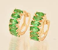 Серьги Позолота 18к дорожка из зеленых цирконов