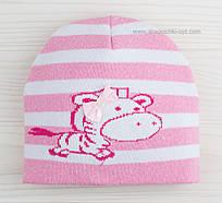 Милая шапочка Зебра розовая